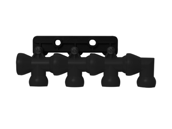 L32099S - 4-fach Verteiler auf Befestigungsplatte, schwarz